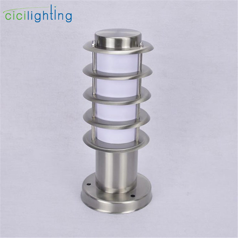 Outdoor Waterproof Path Light,L30cm L45cm Stainless Steel + White Acrylic Shade Outdoor Post Lamp,rust-proof E27 Pillar Lighting