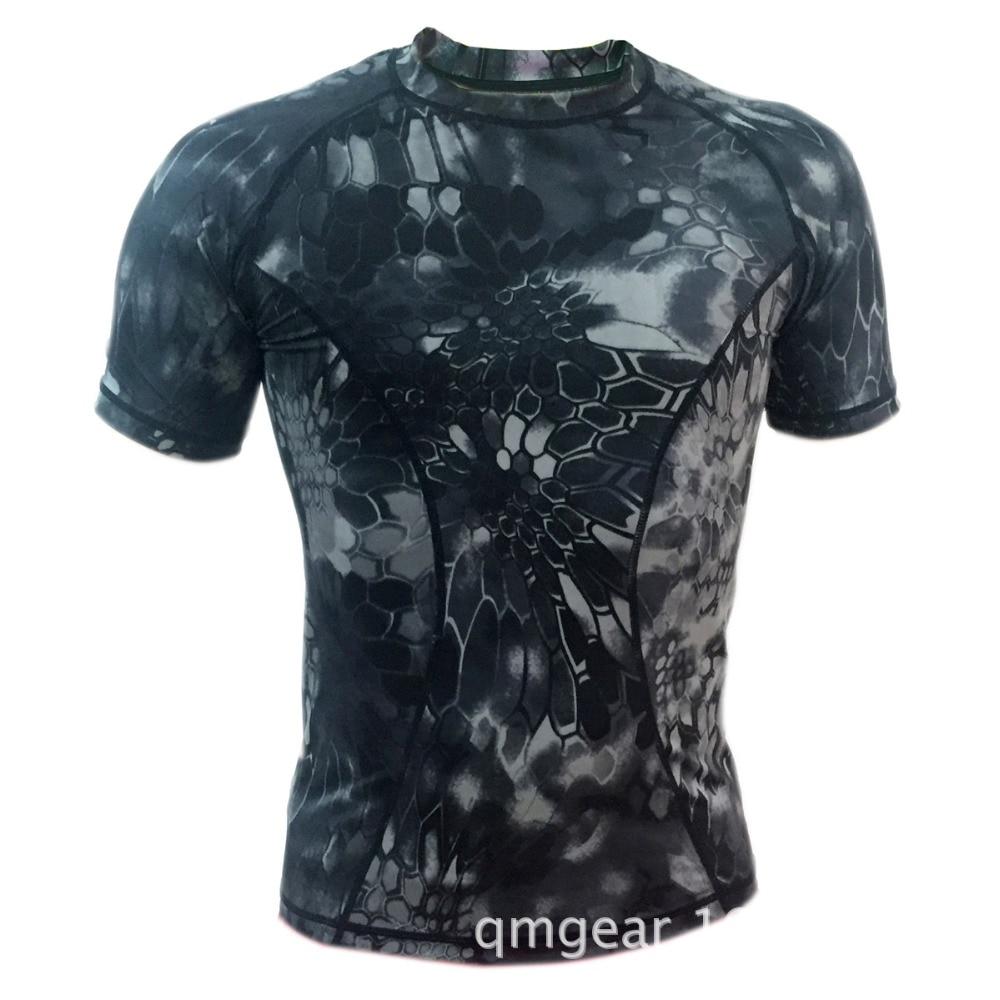 Men Sports T-shirt Camouflage Print Quick Dry Elastic O Neck Short Sleeve Q9N5