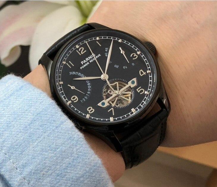43mm PARNIS azjatyckich ST2505 automatyczne self wiatr mechaniczne zegarki męskie zegarki zasilania rezerwy Auto data zegarki mechaniczne pa144 8A w Zegarki mechaniczne od Zegarki na  Grupa 1