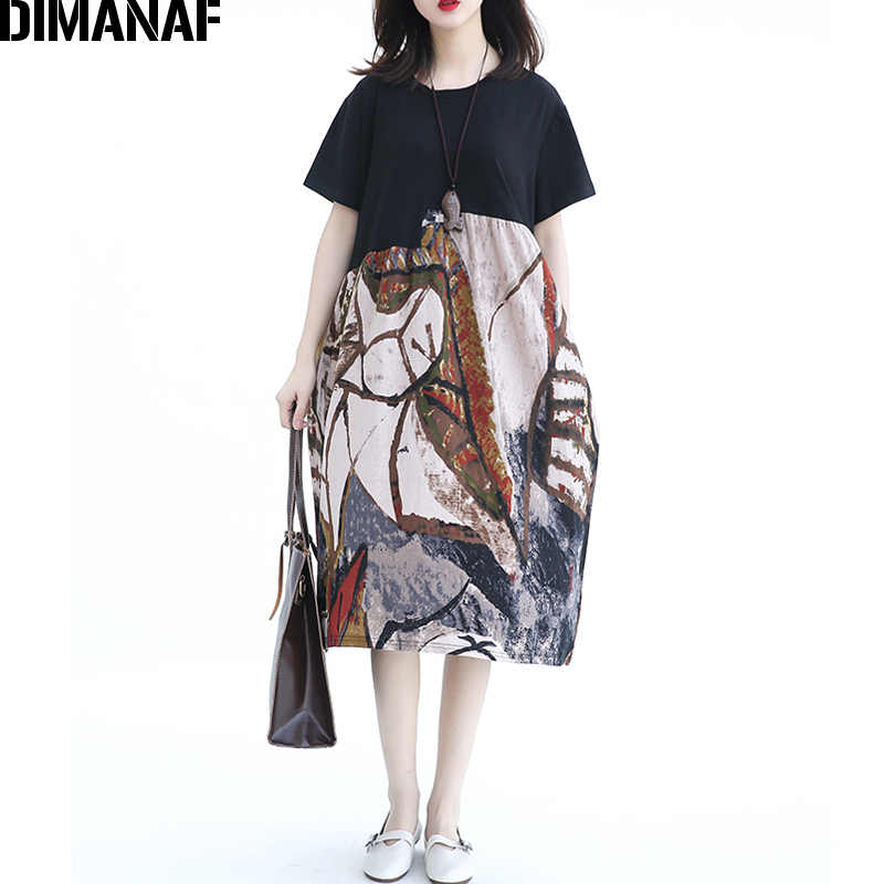DIMANAF Summer Women Dress Plus Size Linen Cotton 2018 O-Neck Casual  Pattern Print Female ff12baafd318