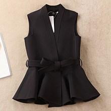 S-2Xl New Ol Suit Vest Fashion Women Short Style Sashes Slim Black Waistcoats V-Neck Female Elegant Office Sleeveless Coat