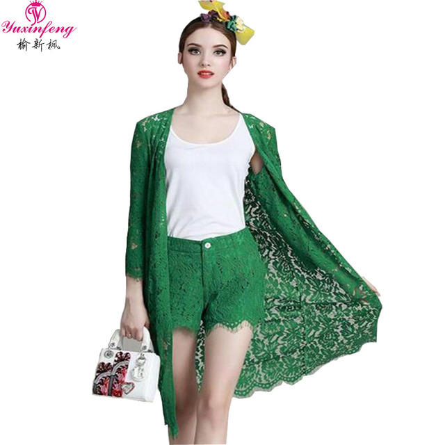 2017 Designer Clothing Sets Women's Long Sleeve Lace Cardigan Coat+Tops+Shorts 3pcs Summer Plus size Womens Shorts Suit Set