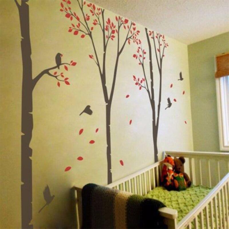 Bouleau arbre forêt oiseaux volants stickers muraux chambre bébé amovible vinyle décor grand h132inx178in