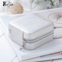 Mini Travel Portable Leather Jewelry Box With Mirror Cosmetic Makeup Organizer Earrings Casket Three Tier Storage
