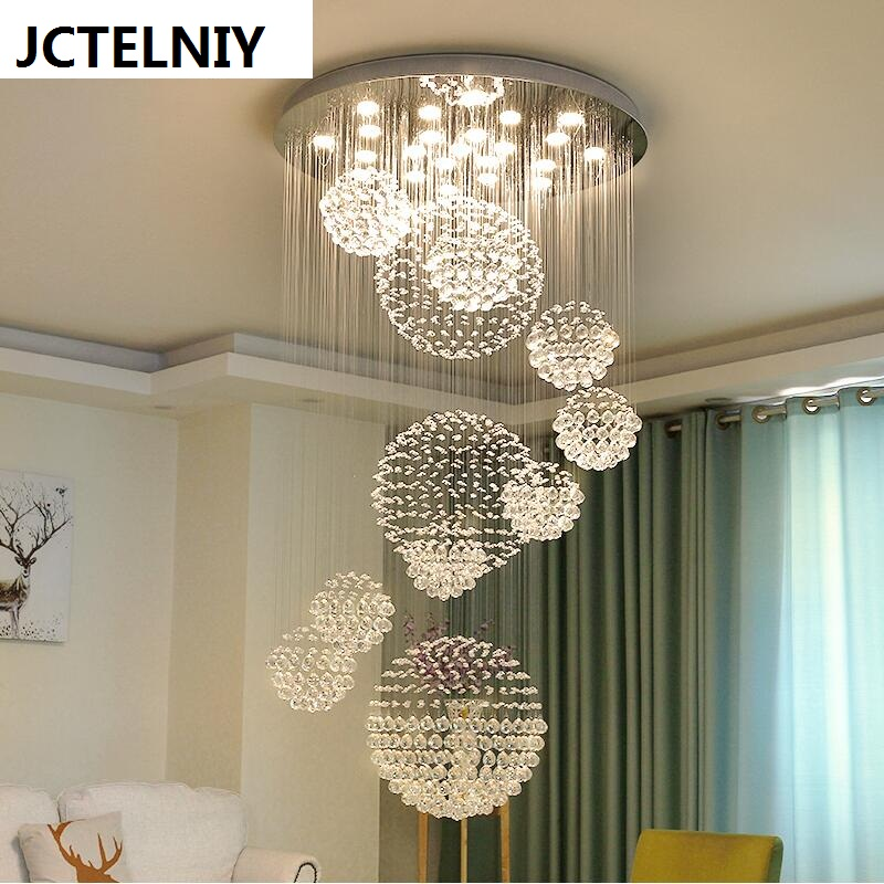 Duplex Floor Led Crystal Chandelier Staircase Light