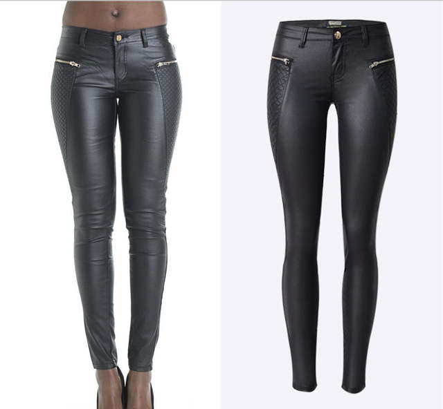 placeholder Lowrise black pu embroidery patchwork pencil jeans sculpt  skinny leather jeans fashion punk leather pencil pants c18727f2ea30