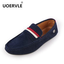 Comfortable Casual Mens Flat Shoes Fashion Peas Shoes Stripe Leather Men Loafers Slip on Mens British Style Flats shoes