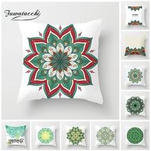 Fuwatacchi  Simple Geometric Cushion Cover Colorful Mandala Pillow Case Home Decorative White Pillows For Sofa Car Seat