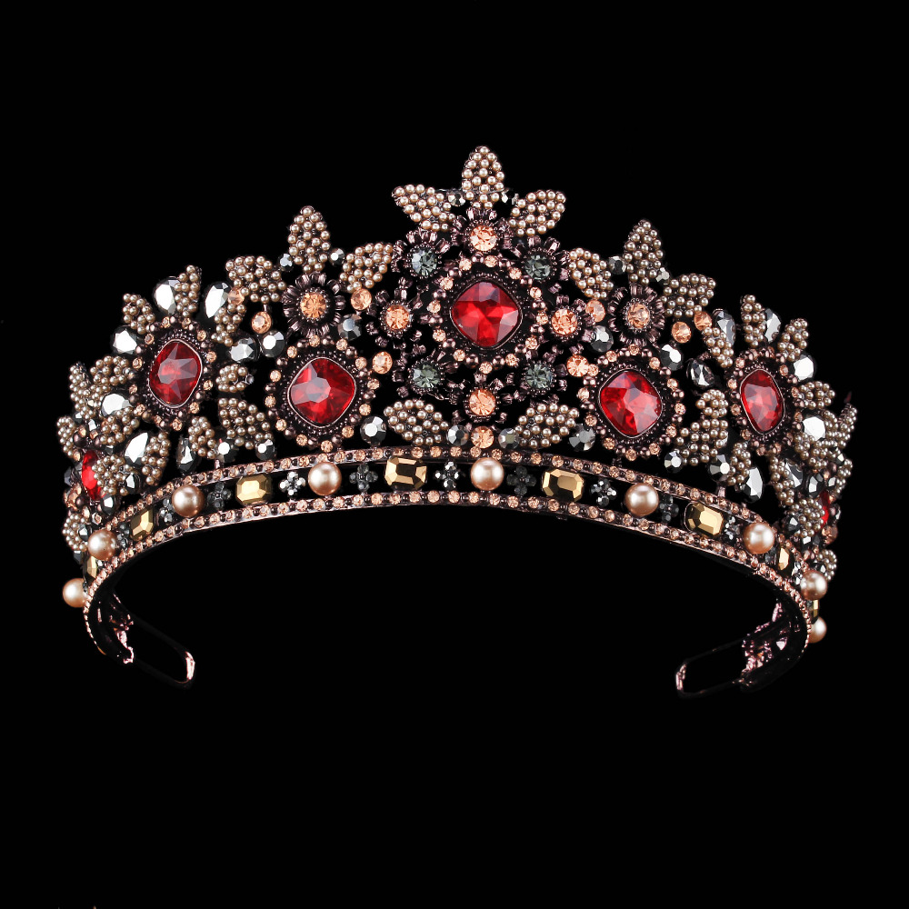 Red Crystal Bridal Crown Trendy Headpiece Handmade Tiara Black Gold Tiara Wedding Hair Accessories Bridal Headband