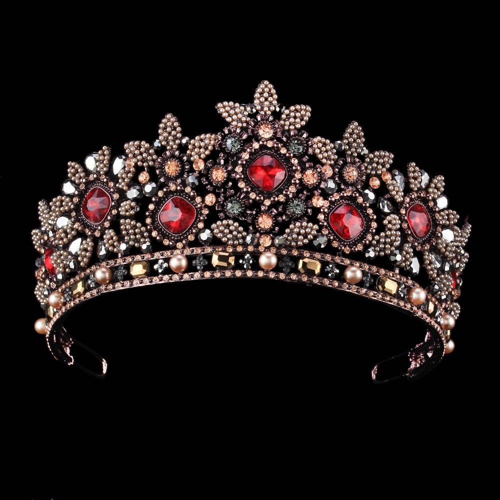 Trendy bridal headpiece - Red Crystal Bridal Crown Trendy Headpiece Handmade Tiara Black Gold Tiara Wedding Hair Accessories Bridal Headband