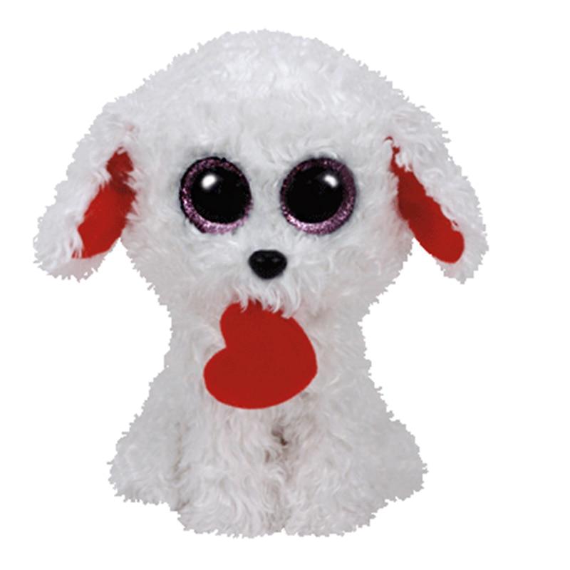 2016 New Ty Beanie Boos Plush Toy Honey Bun White Dog With Red Heart