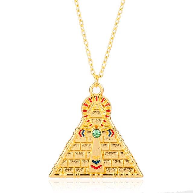 Cross pyramid evil eye of horus egyptian pendant necklace collier cross pyramid evil eye of horus egyptian pendant necklace collier women men metal chain fashion jewelry aloadofball Image collections