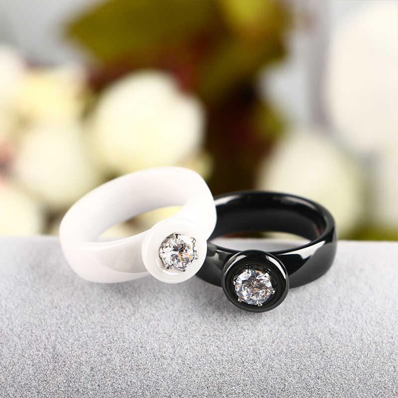 2018 แฟชั่นแหวนเซรามิค Big Bling คริสตัลแสดงอารมณ์สง่างามเครื่องประดับหญิงสาวเงินงานแต่งงานแหวน