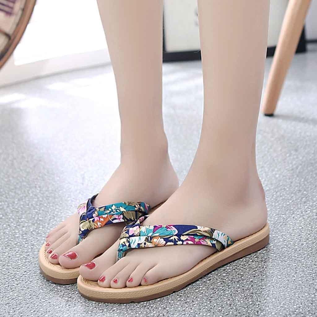 2019 Neue Stil Heißer Hausschuhe Sommer Frauen Süße Print Non-slip Flip-flops Sandalen Flache Strand Hausschuhe Schuhe Zapatos De Mujer Ungleiche Leistung