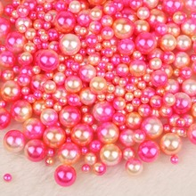 No Hole Mix Rainbow Color Round 4/6/8/10mm ABS Imitation Pearl Beads