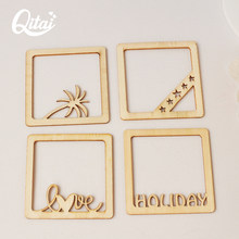 QITAI 4 Pcs Hot Selling Coconut Tree Lips Moustache Wooden Photo Frame Home Decoration DIY Scrapbooking Serrated Edge wf054(China)