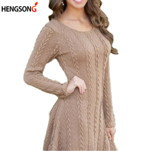2017 Spring Autumn Women Knitted Sweaters Long Slim Sweater Dress O Neck Long Pullovers Female Sweater Vestidos Plus Size 5XL(China)