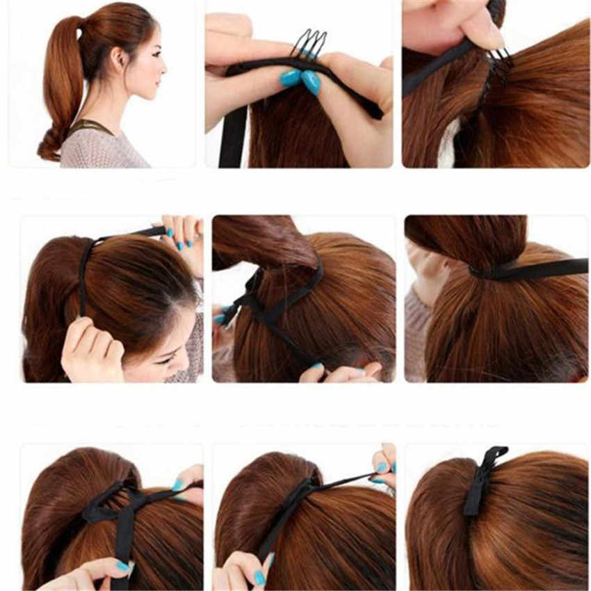 Feibin синтетический галстук-бабочка на хвост, накладные волосы на заколке для Для женщин хвост шиньон длинные естественная волна Температура 24 дюйма B40