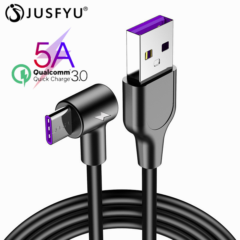5A Type C Cable 90 Deg Super Fast Charging USB C Micro USB Quick Charging Cable For IPhone Samsung Xiaomi Huawei Mate 20 P10 P20
