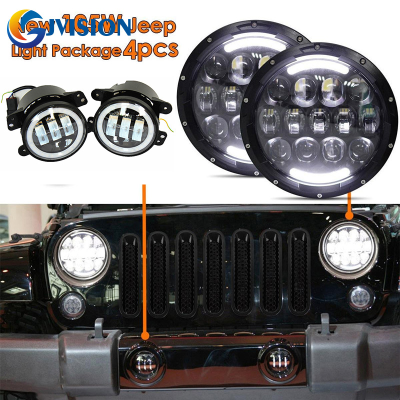 DOT 105W 7'' Inch led headlight DRL Car led light for Jeep Wrangler JK 4X4 Offroad and 4 inch 30W Halo angel eyes fog lights pair 105w 7 inch led headlight for jeep