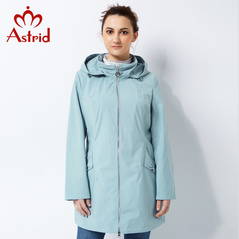 Astrid 2019 solid Trench Coat for Women Plus Size Windbreake Spring and Autumn casual Coat Simple
