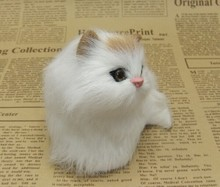 small cute simulation white cat toy polytene & fur yellow head cat toy gift about 11x8cm