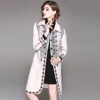 2017 Winter Fashion Embroidery Slim Women Long Coat High Quality Fashion Full Sleeve Turn down Collar Vintage Elegant Outwear