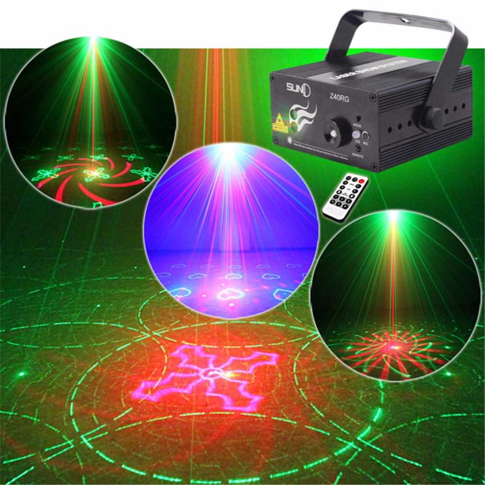 AUCD Mini 3 Lens 40 Gobos Red Green Laser Projector Stage Light 3W Blue LED Mixing Effect DJ KTV Show Party Home Lighting Z40RG rg mini 3 lens 24 patterns led laser projector stage lighting effect 3w blue for dj disco party club laser