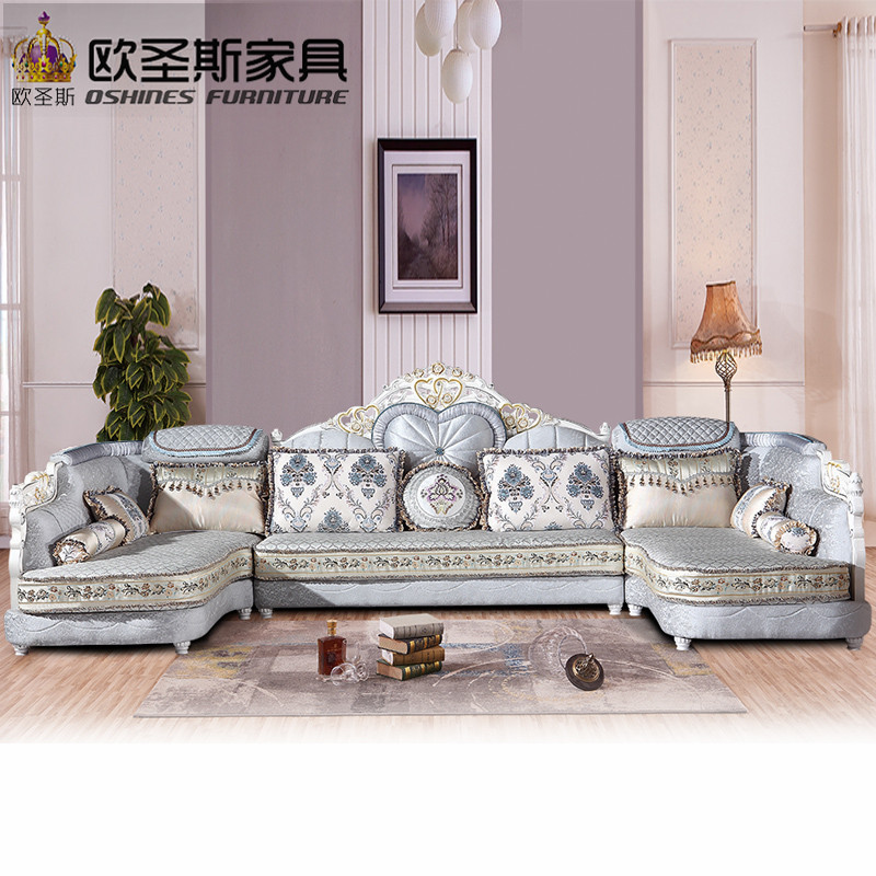 luxury U shaped sectional living room furniutre Antique Europe design new classical heart wooden carving fabric sofa sets 6118 the new listing luxury living room
