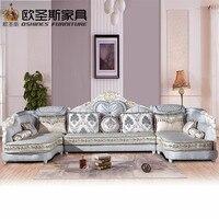 Luxus U förmigen schnitt wohnzimmer furniutre Antike Europa design neue klassische herz holz carving stoff sofa setzt 6118
