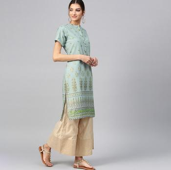 India Woman Traditional Ethnic Printing Costume Cotton Short sleeve Top Spring Summer Travel Dress Beautiful Bluce Dance Top