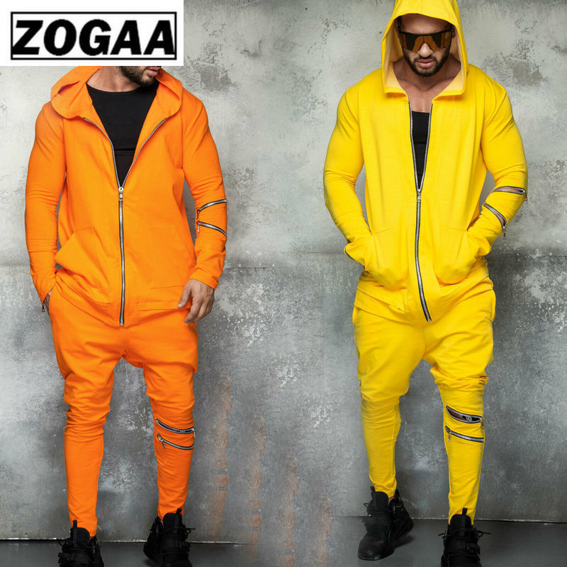 Zogga Solid Color Hooded Men's Suits With Zipper Breathable Cotton Polyester Sports Wear For Men Gym 2 Piece Casual Sets