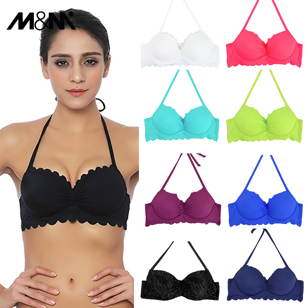 M & M Donne Bikini Top Halter Lady Swim Sport Reggiseno Estate delle donne Stampa Ragazze Solid Sexy Swimwear Push Up Pad Beach Costume da bagno T604