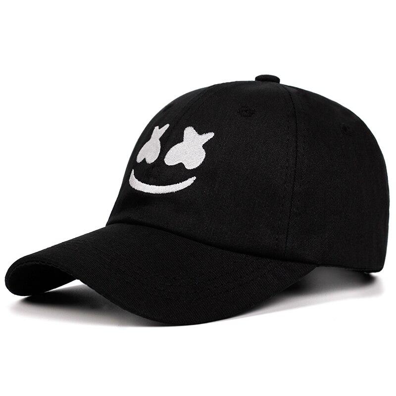 100% Cotton Marshmello   Baseball     Cap   Embroidery Dad Hat American DJ Chris Comstock Unisex Snapback Hats Dotcom Alone Smiley face