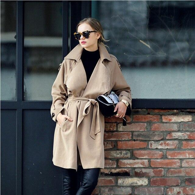 2016 женщин траншеи осень зима мода высокого качества Англия свободный стиль классический хаки голубой негабаритных тонкий пальто наряд