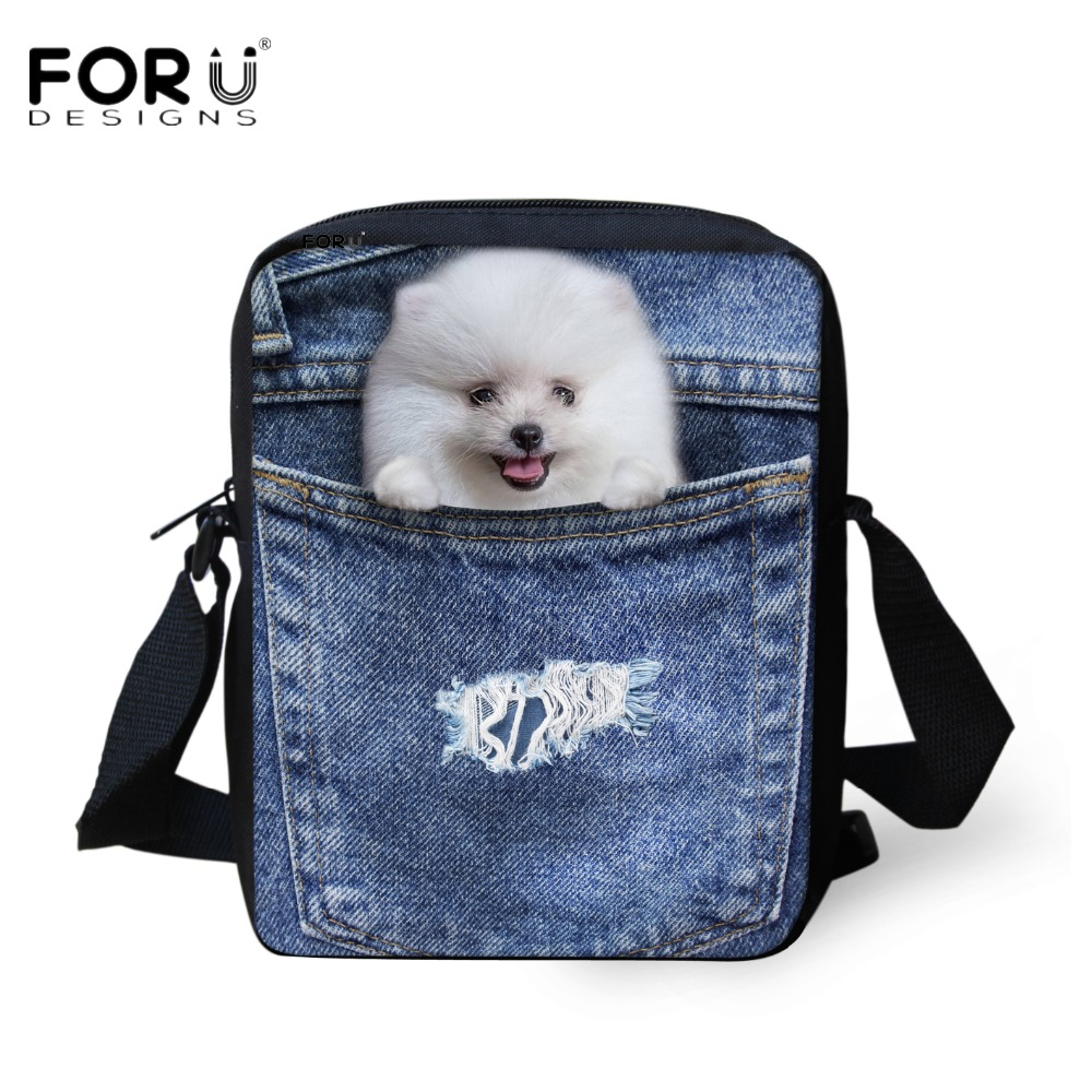 FORUDESIGNS Small Children School Bags Denim Pocket Animal Pomeranians Kids Girls Mini Book Bags 3D Cute Cat Prints Boys Mochila ...