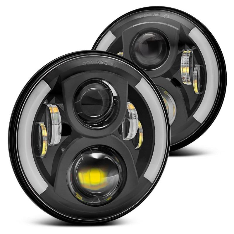 цена на 2pcs 80w 7 Halo Led Headlight Round 7inch H4 Hi/Low Beam 7inch Led headlights DRL Led car Headlamp for Jeeep Wrangler JK, TJ,CJ