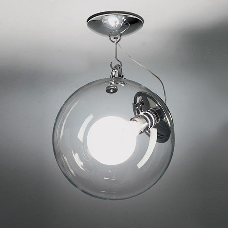 Modern Dia25cm Soap Bubble Clear Glass Ball Ceiling Light Fixture DIY Home Deco Living Room Chrome Iron E27 Bulb Ceiling Lamp