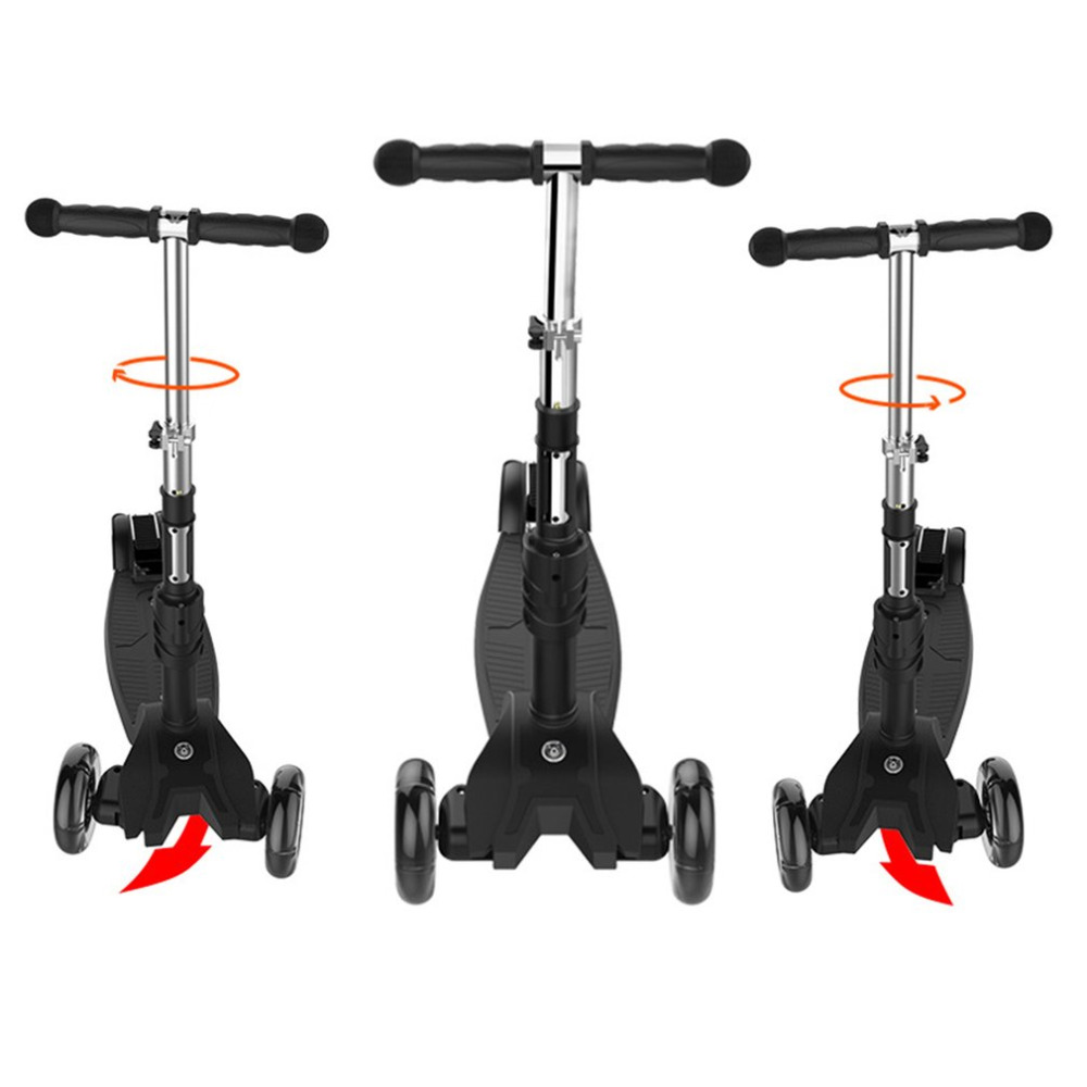 3Modes LED Lights 4 Wheels Skateboard Scooter With Adjustable T-bar Handle And Removable Seat For Toddler Kids Baby Walker