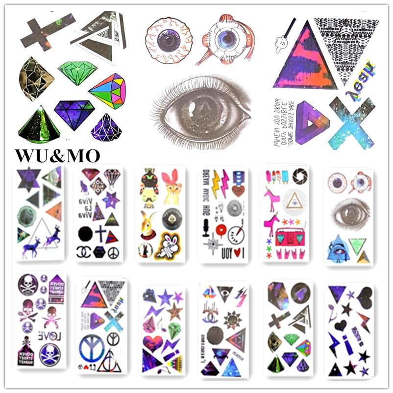 10.5x6 см водонепроницаемый временные татуировки Алмазный звезды Глаз тату хной поддельные флэш татуировки наклейки Taty татуировки tatto tatuajes