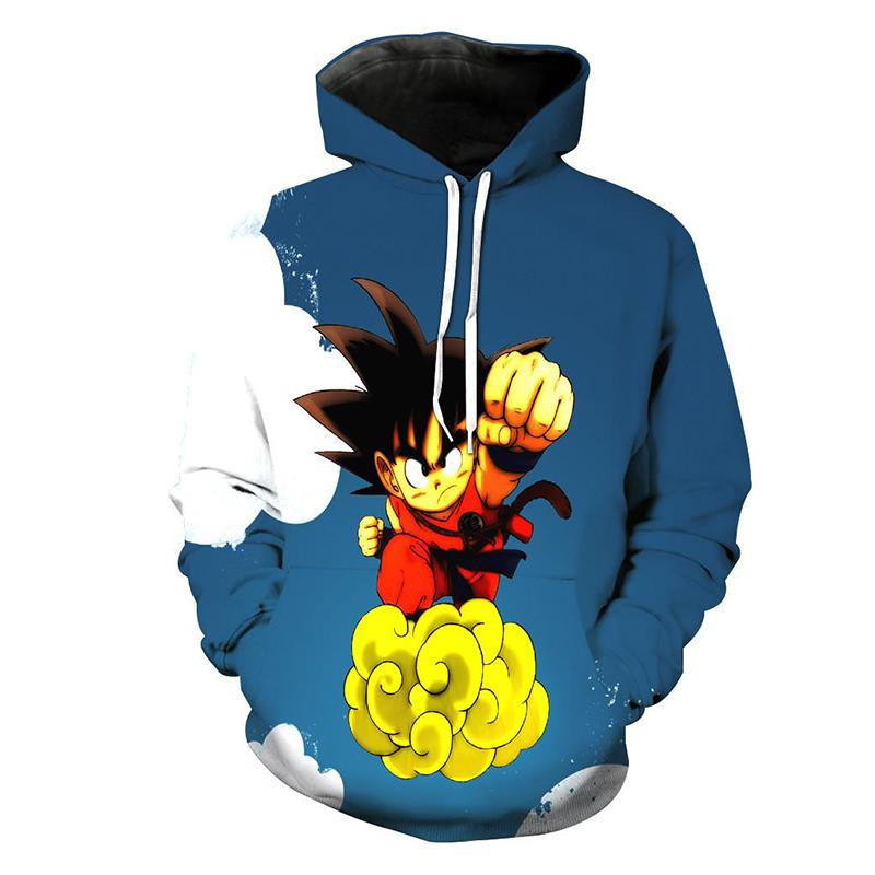 Anime Cute Hoodies 2018 Winter Classic 3d Dragon Ball Z Printed Hooded Sweatshirts Casual O-neck Pullovers Sweats Unisex