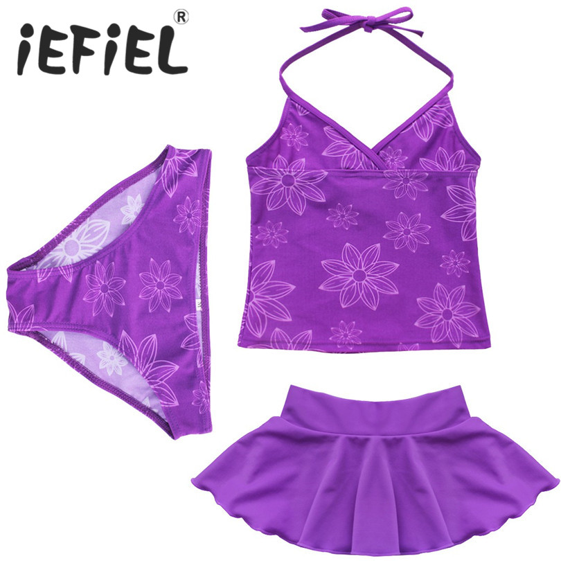 3pcs Girls Purple Halter Top Children Girls Kids Sets with Brief Bottom and Cute Skirt with Printed Flowers Outfits 3-14Y