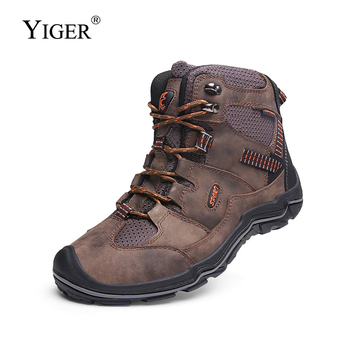 YIGER New Men Casual shoes Winter Lace-up men outdoor Leisure shoes High-top man hiking shoes big size 38-45 Non-slip shoes 0212