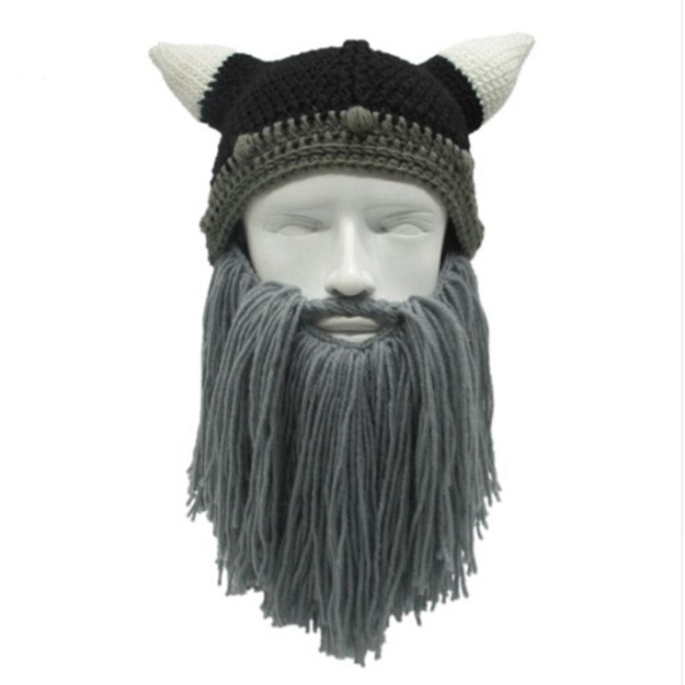 1PC Men Women Handmade Knit Barbarian Viking Beanie Beard Horn Hat Winter Warm Cap Cool Funny Gag Halloween Party Xmas Gifts