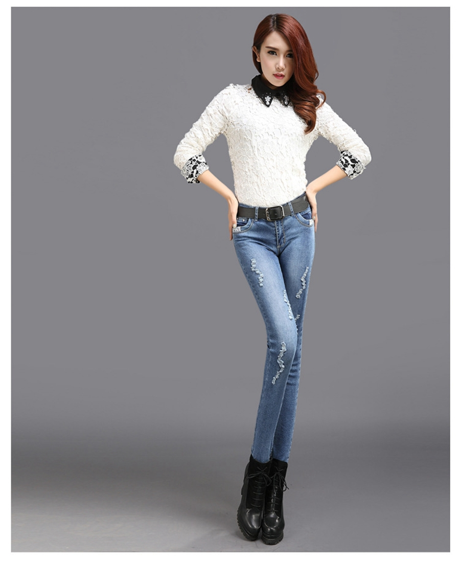 Free Shipping 2015 New Women's Hole Jeans Korean Version Of Slim Was Thin Feet Pencil Pants ...