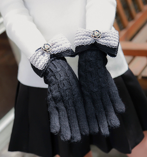 528178bb43588 2017 Solid Ribbon bow Fashion Gloves Women Girl Female Stretch Knit Gloves  Mittens Winter Warm Accessories Wool Guantes