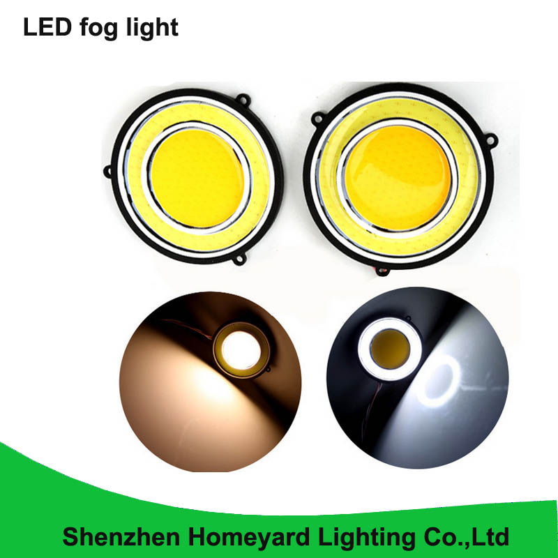 2pcs cob 15W 12V 85mm Projector Universal led Fog Light white /yellow Halo Angel Eye Rings with turn signel light for all car 80 mm 12v cob car led angel eyes halo rings with lampshade 63smd halo anneau colorful led headlights white yellow red blue light
