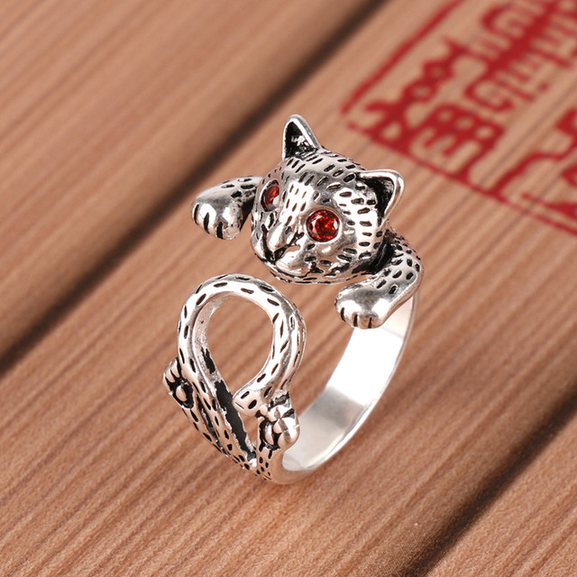 Simple Real 925 Sterling Silver Red Eye Cat Big Rings For Women Ladies Statement Jewelry Wedding Ring anillos anelli bague femme