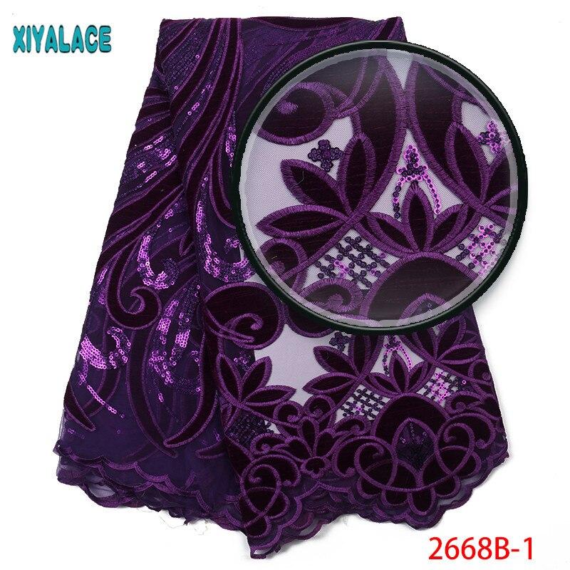 Nigérian dentelle tissu 2019 haute qualité dentelle violet Velve dentelle tissu broderie paillettes dentelle tissu africain femmes robe 2668b-in Dentelle from Maison & Animalerie    1