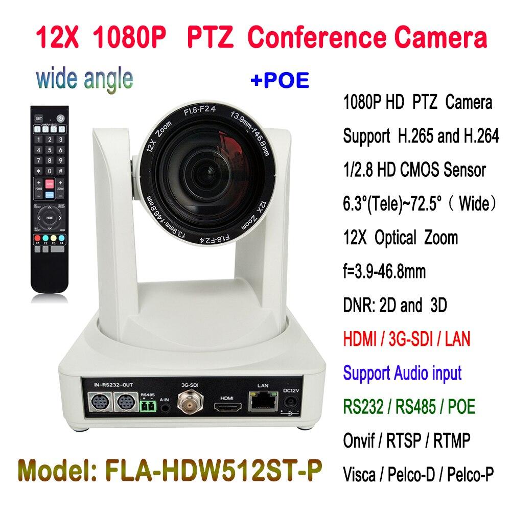 2MP 1080 p Indoor 72.5 graus wide FOV POE PTZ Videoconferência Câmera IP Zoom Óptico de 12x 60fps cor branca